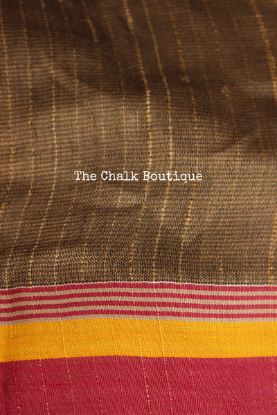 Glazed cotton handloom saree. MO-GL-1-The Chalk Boutique