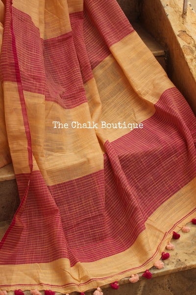 Peach pure handloom cotton saree with contrast zari border. NF-KH5A-C5-The Chalk Boutique
