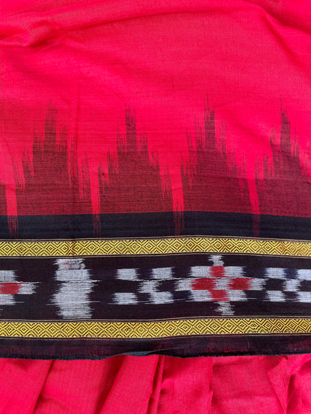 | Swahili | Deep Red Handwoven pasapalli  border  Sambalpuri ikat saree in cotton.