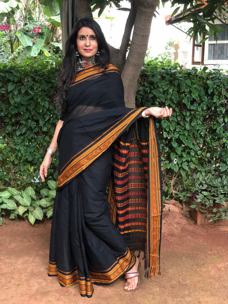 | Sassy |  Black 'Handloom mark' handwoven begumpuri saree with naksha paar.