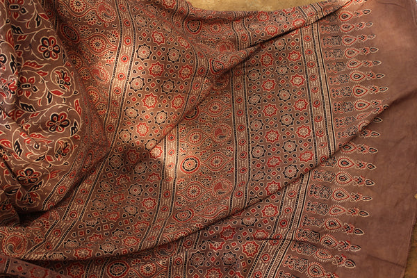 Handwoven vegetable dyed Ajrakh mul cotton saree in coffee color. KCH-AJR1-C1