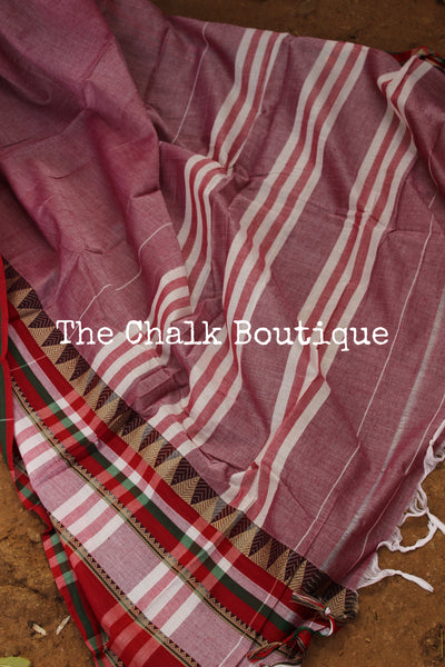 Blush Soft Cotton Saree With Contrast Broad Temple Style Border. TCB-BB3-P23-The Chalk Boutique