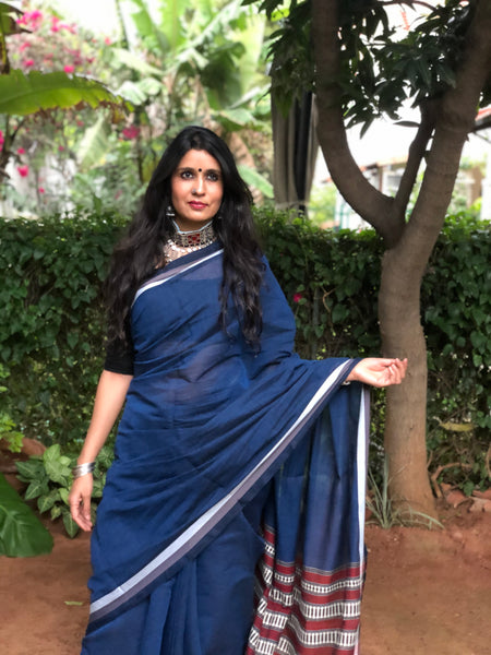 | Ink Stains | Blue 'Handloom mark' handwoven begumpuri saree