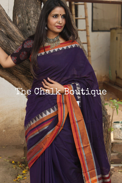 Purple Soft Cotton Saree With Contrast Broad Temple Style Border. TCB-BB10-P23-The Chalk Boutique