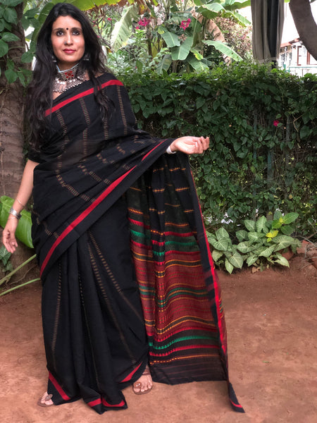 | Black Currant | Black Handloom mark' handwoven begumpuri saree