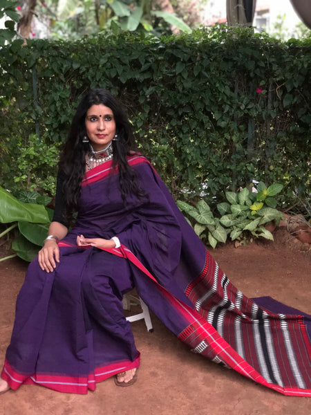 | Rukhsana | Purple Handloom mark' handwoven begumpuri saree with naksha paar.