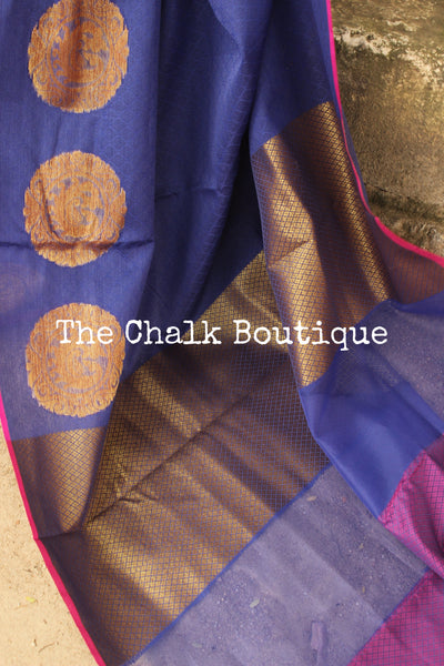 Ink Blue Muslin Tanchoi Semi Katan Benarasi silk saree with all over weave. TCB-TN2-MC1