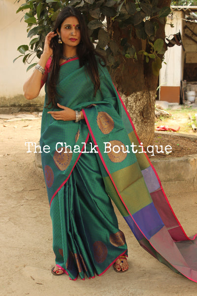 Peacock Blue Muslin Tanchoi Semi Katan Benarasi silk saree with all over weave. TCB-TN3-MC1