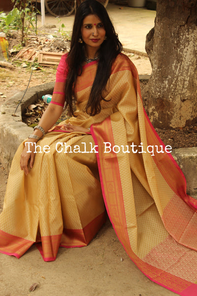 Coffee Muslin Tanchoi Semi Katan Benarasi silk saree with all over weave. TCB-TN4-MC1