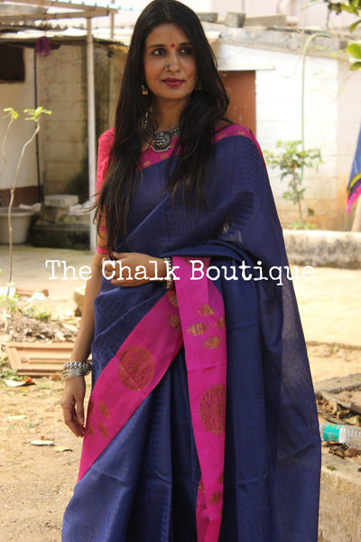 Blue Muslin Tanchoi Semi Katan Benarasi silk saree with all over weave. TCB-TN6-MC1