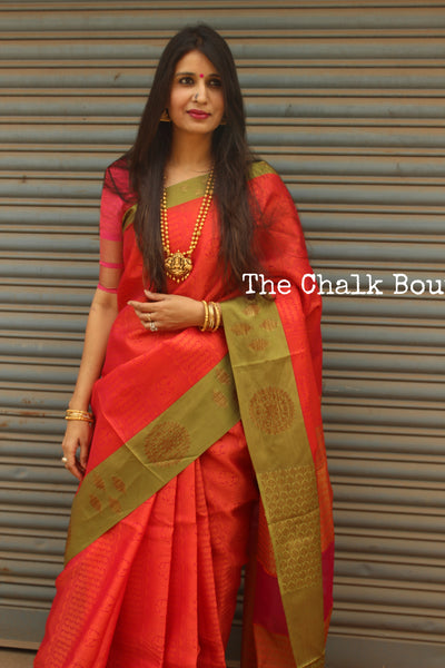 Deep Reddish Pink Muslin Tanchoi Semi Katan Benarasi silk saree with all over weave. TCB-TN8-MC1
