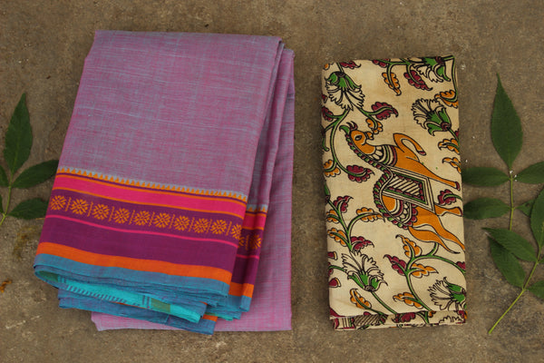Andhra cotton saree with contrast blouse fabric. MO-ANDH-1