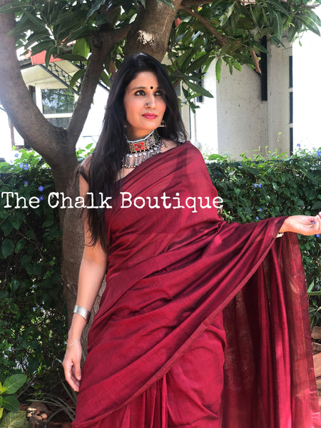 | Vino | Maroon Pure cotton Saree with tasseled pallu.