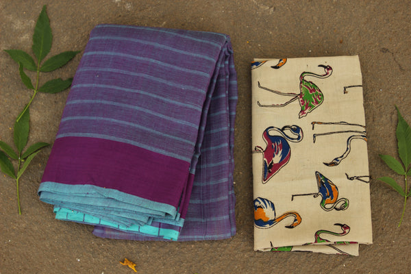 Jharkhand cotton saree with contrast blouse fabric. MO-JHK-3