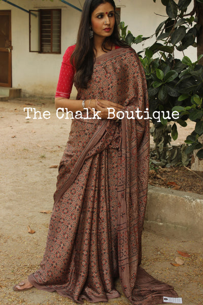 Modal silk vegetable dyed Ajrakh saree in coffee color. KCH-MOD2-C1