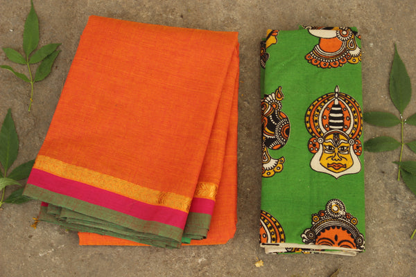 Andhra cotton saree with zari leaf border and contrast blouse fabric. MO-ANDH-3