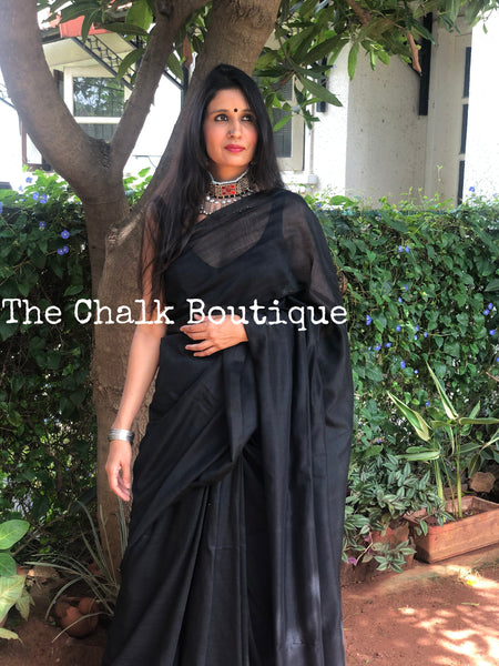 |Date Night | Black Pure cotton Saree with tasseled pallu.