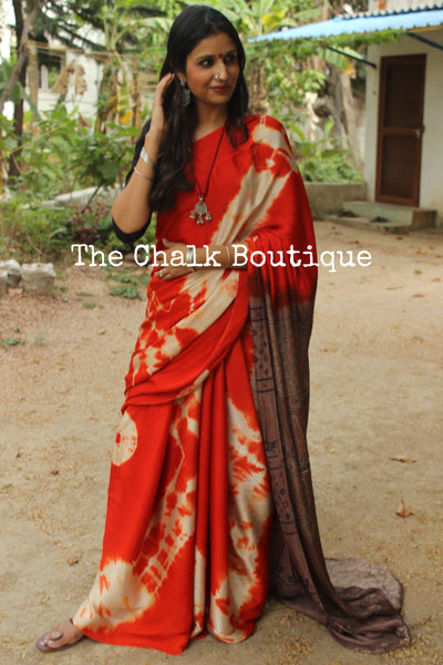 Modal silk vegetable dyed Ajrakh saree with tie and dye pallu in orange. KCH-MOD3-C1