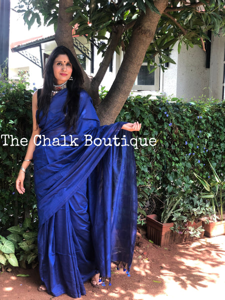 | Happy With You | Deep Blue Pure cotton Saree with tasseled pallu.