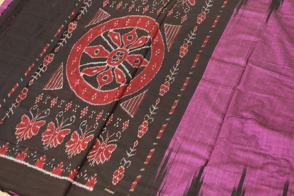 | Ripe Cherries |Purple handwoven sambalpuri kargil saree with contrast blouse fabric. TCB-OR1-3-The Chalk Boutique