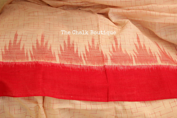 Handwoven sambalpuri jharna ikat saree in cotton. TCB- JH3-NH2-The Chalk Boutique