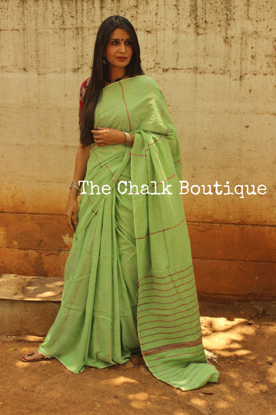 Pista Green Mul cotton 'khesh' saree. TCB-KSH-GRN2-The Chalk Boutique
