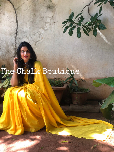 | In Love | Yellow Pure cotton Saree with tasseled pallu.
