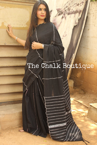 Black Mul cotton 'khesh' saree. TCB-KSH-BLK-The Chalk Boutique