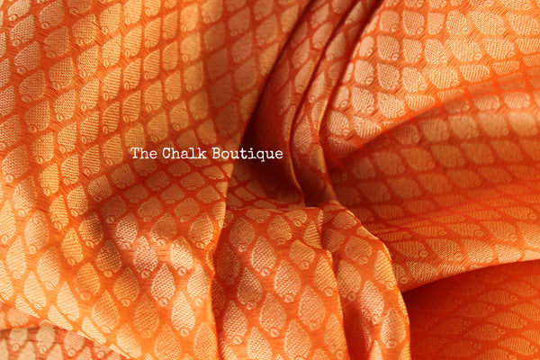 Peach Muslin Tanchoi Semi Katan Benarasi silk saree with all over weave. TCB-TN15-MC1