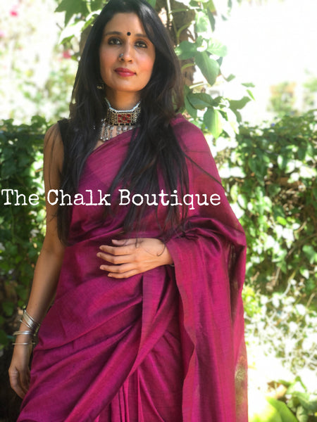 | Secrets | Wine Pure cotton Saree with tasseled pallu.