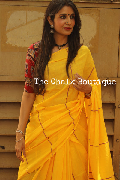 Yellow Mul cotton 'khesh' saree.TCB-KSH-YELL