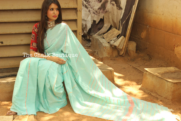 Sea Green Mul cotton 'khesh' saree.TCB-KSH-SG