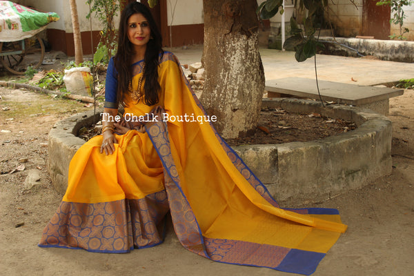 Yellow Muslin Tanchoi Semi Katan Benarasi silk saree with all over weave. TCB-TN21-MC1