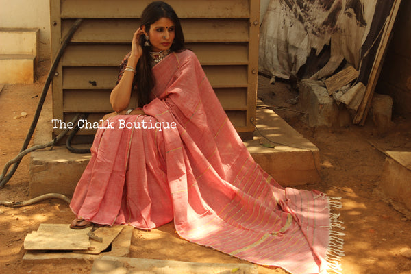 Pink Mul cotton 'khesh' saree.TCB-KSH-PNK-The Chalk Boutique