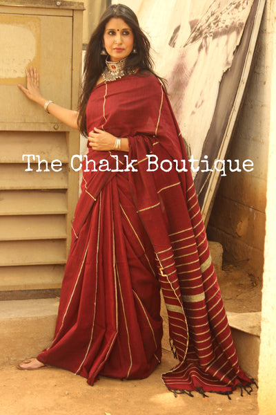 Reddish Maroon Mul cotton 'khesh' saree. TCB-KSH-MRN-The Chalk Boutique