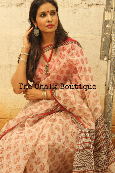 Beige with rust butas Bagru Hand Block Print Kota Doria Saree TCB-KOTA-10-The Chalk Boutique