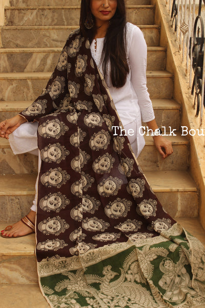 Deep Brown Hand block Print Kalamkari Cotton Silk Dupatta.TCB-SDUP4-P22