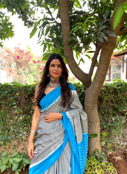 | Neel Gagan | Grey and Blue Pure Handwdoven Pochampally Single Ikat Cotton Saree