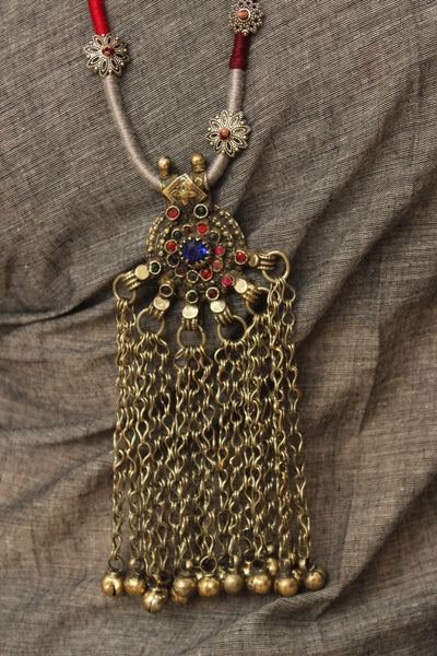 Dori necklace with antique german silver afghan pendant. CC-DO1-C8