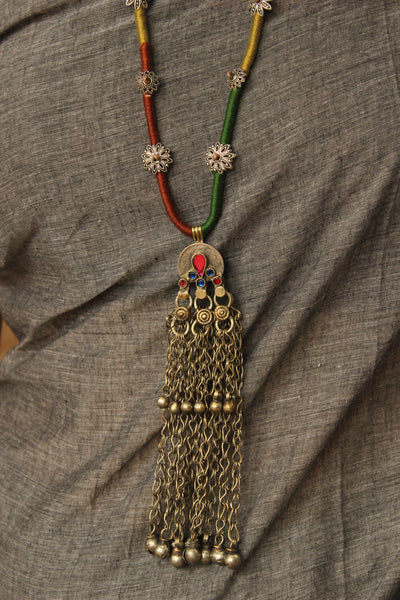 Dori necklace with antique german silver afghan pendant. CC-DO3-C8