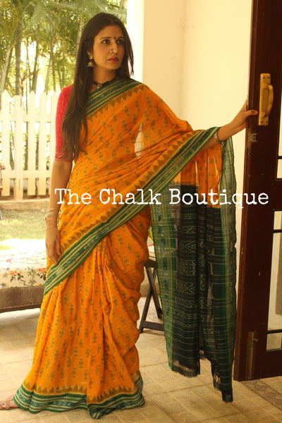 Yellow and green Handwoven sambalpuri ikat saree in cotton. TCB-OR4-7