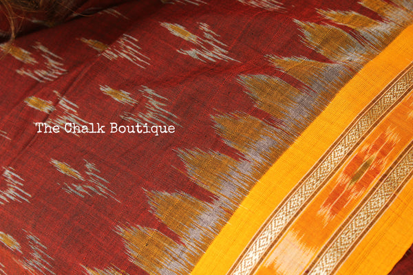 Maroon and mustard Handwoven sambalpuri ikat saree in cotton. TCB-OR4-8