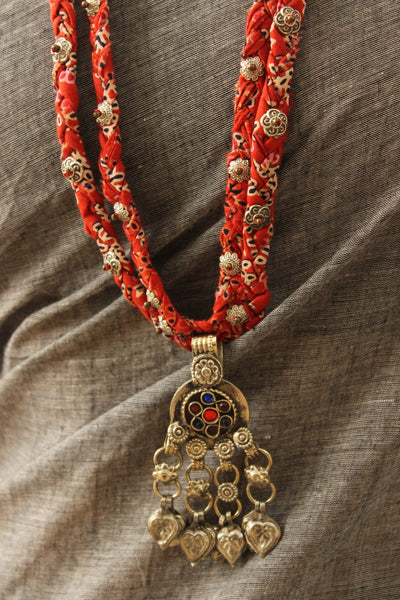 Handmade double braided necklace with antique german silver pendant. CC-DB4-C8