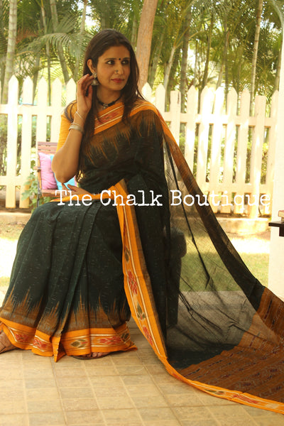 | Dewy | - Deep Green Handwoven sambalpuri jharna ikat saree in cotton. TCB-OR3-9-The Chalk Boutique