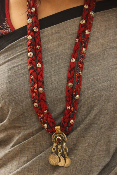 Handmade double braided necklace with antique german silver pendant. CC-DB5-C8