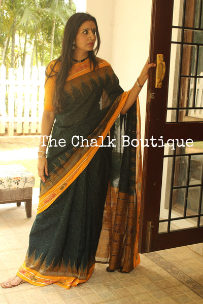 Deep Green Handwoven sambalpuri jharna ikat saree in cotton. TCB-OR3-9