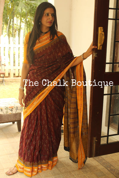 Maroon and mustard Handwoven sambalpuri ikat saree in cotton. TCB-OR4-11