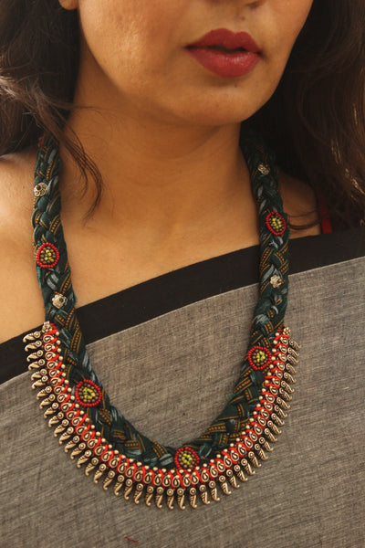 Braided cloth necklace. CC-BR2-C8