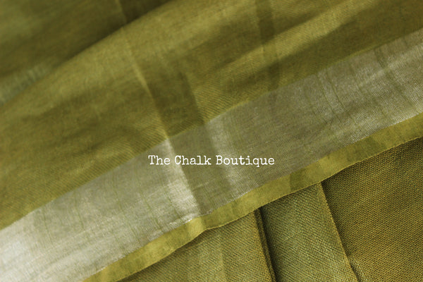Green Staple Viscose cotton saree with zari border. TCB-GR-RI-The Chalk Boutique