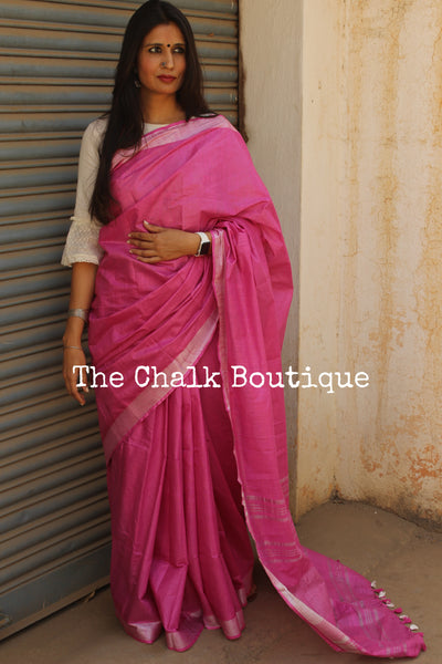 Pink Staple Viscose cotton saree with zari border. TCB-PK-RI-The Chalk Boutique